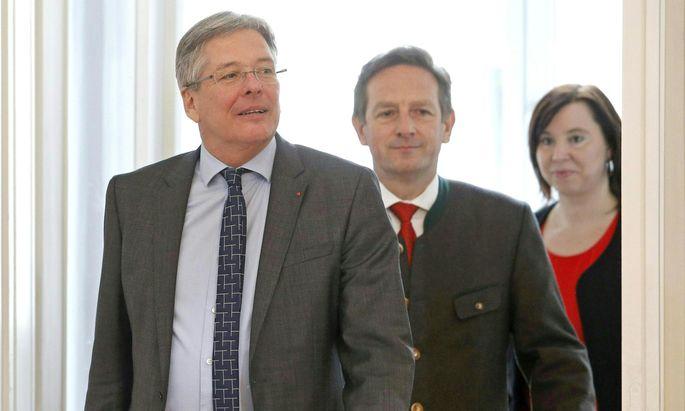 Sie konnten sich doch noch einigen: SPÖ-Landeshauptmann Peter Kaiser, ÖVP-Chef Christian Benger und die grüne Landessprecherin Marion Mitsche (von links).