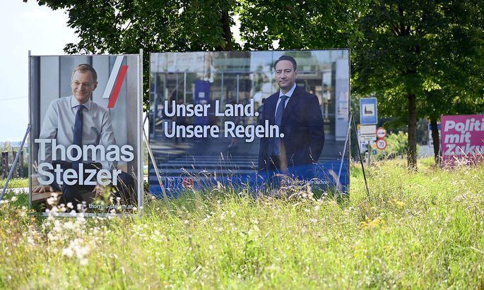 Wahlplakate in Oberösterreich.
