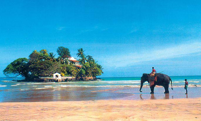 Zum Taprobane Island in Sri Lanka setzt man per Elefant über.
