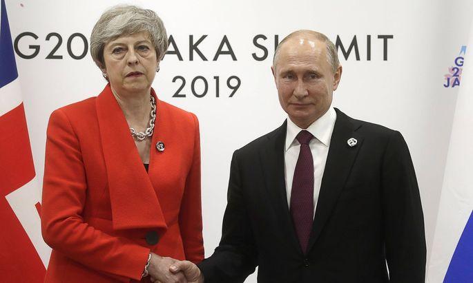 Theresa May und Wladimir Putin beim G20-Gipfel im japanischen Osaka