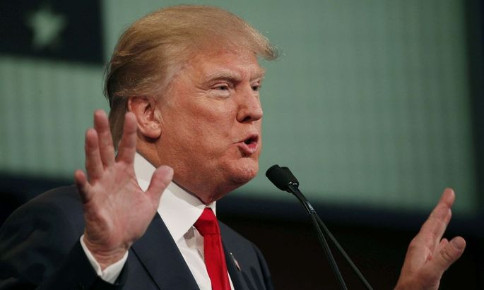 Republican 2016 presidential candidate and businessman Donald Trump answers a question at the first official Republican presidential candidates debate of the 2016 U.S. presidential campaign in Cleveland