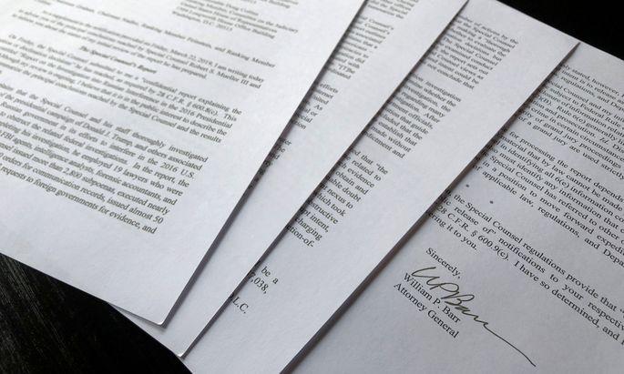 Auf vier Seiten fasste der Justizminister den Mueller-Bericht zusammen.