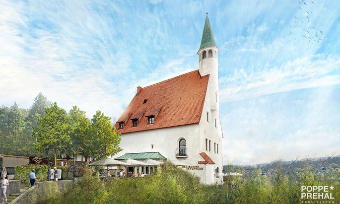 Früher Feuerwache, nun wieder Gasthaus: der Taborturm in Steyr 2021.