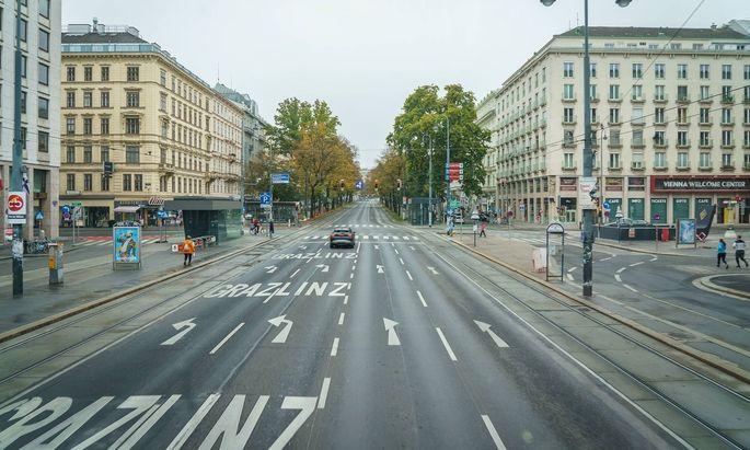 Dieses Bild stammt vom Nationalfeiertag, einem der ruhigsten Tage auf Wiens Straßen im zweiten Halbjahr 2020.