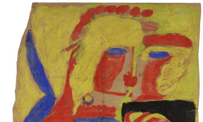 """Leidenschaftliche Aloïse: """"Blühende Kuss-Szene"""" in Gouache, 1947, von Aloïse Corbaz (1886–1964), einst Gouvernante am Hof Kaiser Wilhelm II., ab 1918 in psychiatrischen Anstalten in der Schweiz."""
