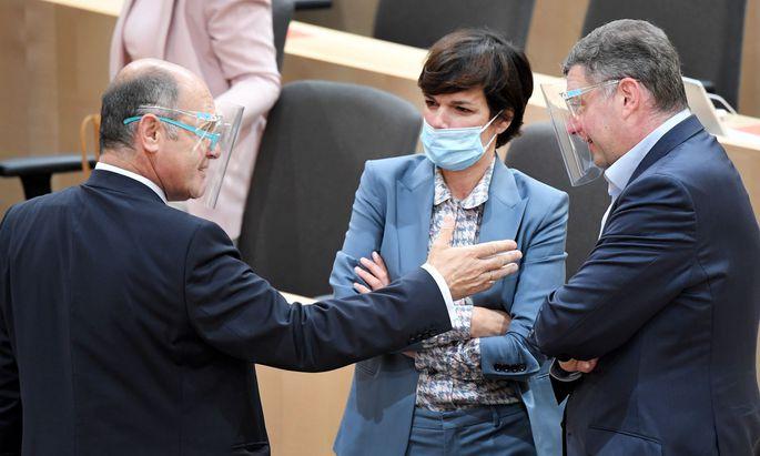 NR-Präsident Wolfgang Sobotka, SPÖ-Chefin Pamela Rendi-Wagner und SPÖ-Klubchef Jörg Leichtfried