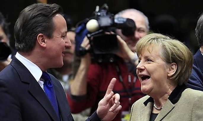 Großbritanniens Premier, David Cameron, und Deutschlands Kanzlerin, Angela Merkel, in Brüssel.