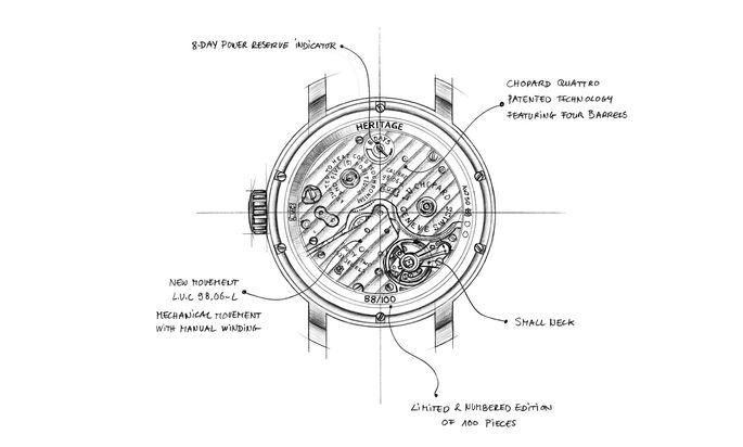 Das Manufaktur-Handaufzugskaliber L.U.C 98.06-L trägt die Genfer Punze als Zeichen seiner feinen Verarbeitung und hohen Funktionalität.
