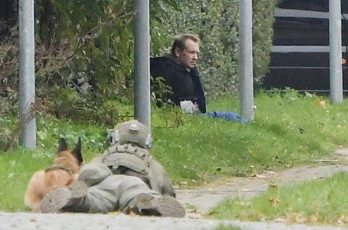 Peter Madsen is seen surrounded by police in Albertslund