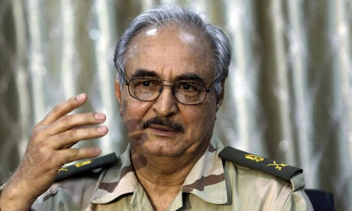 File photo of General Khalifa Haftar during a news conference in Abyar