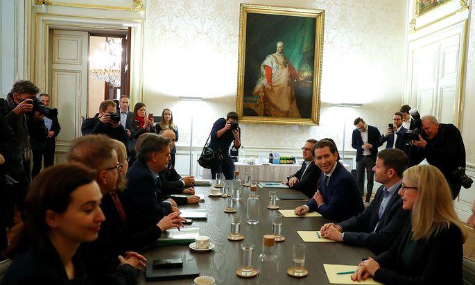 Head of OeVP Kurz meets head of Green Party Kogler in Vienna