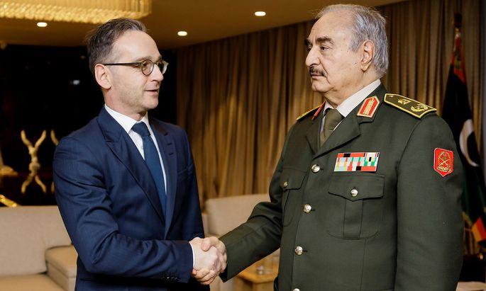 Deutschlands Außenminister maas traf am Donnerstag im libyschen Bengasi den Kriegsherren Khalifa al-Haftar.