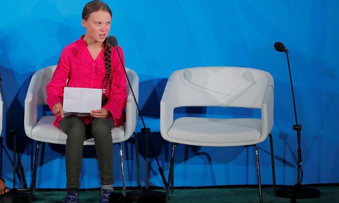 Greta Thunberg bei ihrer Rede vor der UNO