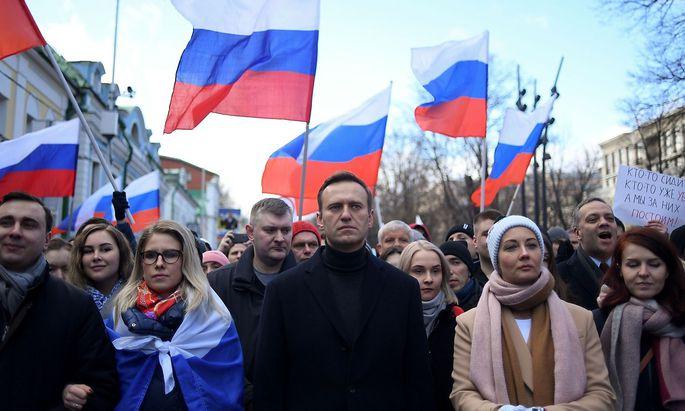 Nawalny vor knapp einem Jahr bei einer Demo in Moskau.