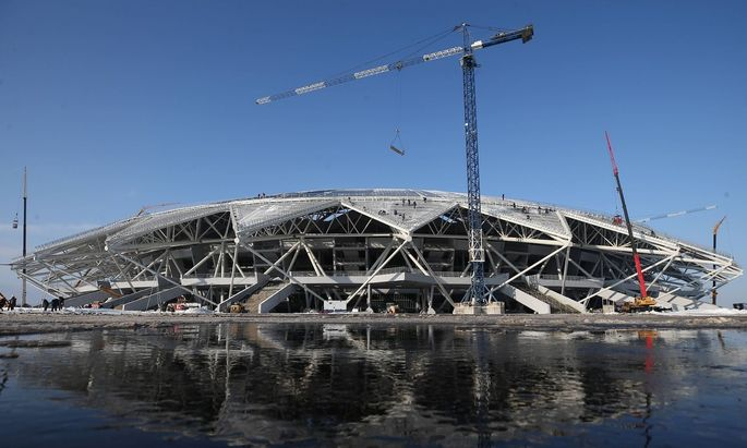 SAMARA RUSSIA FEBRUARY 20 2018 The construction site of Samara Arena one of the venues of the