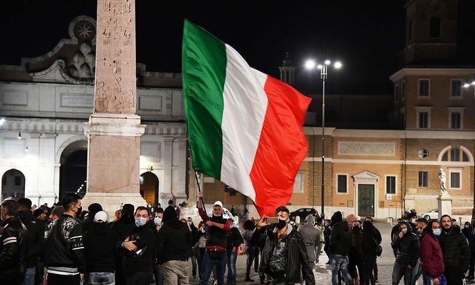 Demonstrationen am Wochenende in Rom am Piazze del Populo.