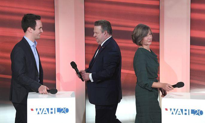 Christoph Wiederkehr (Neos; links), Michael Ludwig (SPÖ) und Birgit Hebein (Grüne) am Wahlabend.