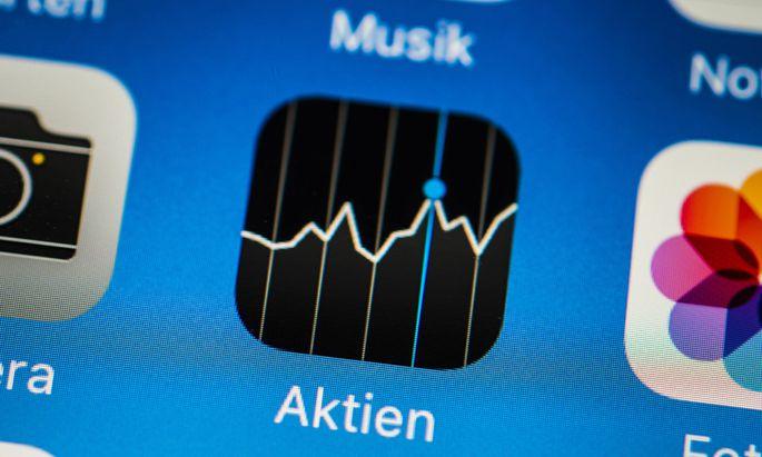App Icons App Anzeige auf einem Bildschirm vom Handy Smartphone Aktien App Icons Apps iOS Mak