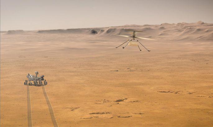 """Während seiner Flugstunden soll der Helicopter """"Ingenuity"""" immer in der Nähe des Rovers """"Perseverance"""" bleiben."""
