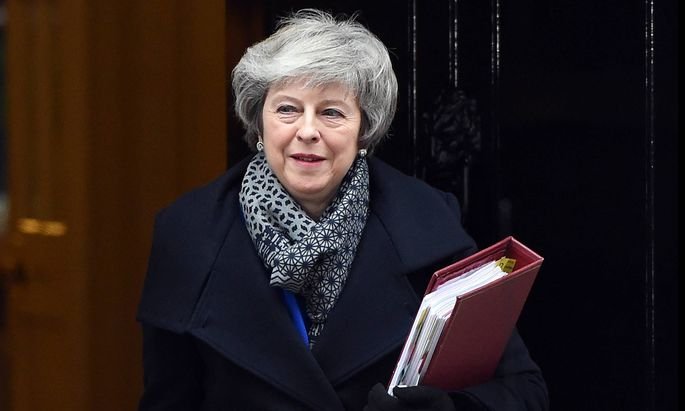 16 01 2019 London United Kingdom Downing Street Prime Minister Theresa May departs Number 10