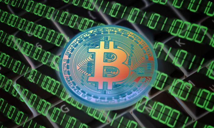 Münze mit Bitcoin-Zeichen