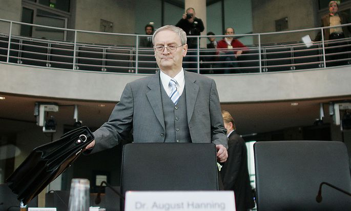 Hanning, state secretary at the German Interior ministry and former head of Germany´s Federal Intelligence Service (BND) arrives to a parliamentary committee of investigation in Berlin