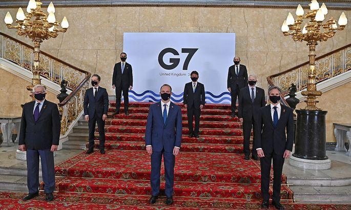 G7-Außenministertreffen in London mit Josep Borrell, dem EU-Außenbeauftragten (l.). Daneben in der ersten Reihe: Gastgeber Dominic Raab und Antony Blinken.