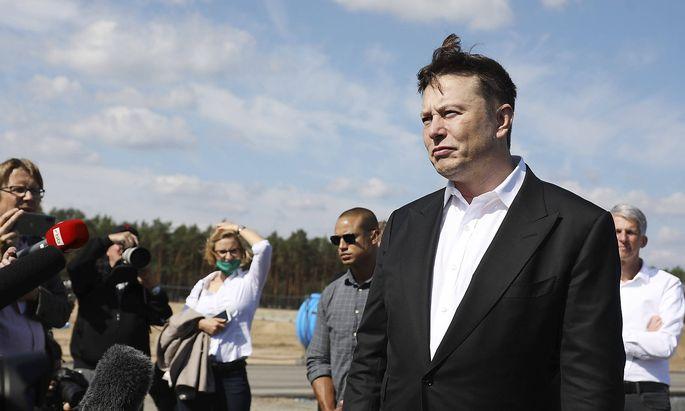 Elon Musk beim ersten Richtfest auf der Baustelle der Tesla Gigafactory Berlin-Brandenburg. Gruenheide, 03.09.2020 *** E