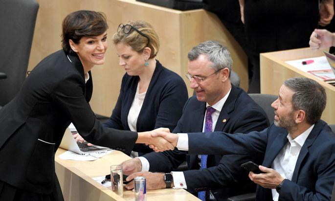 SPÖ-Chefin Pamela Rendi-Wagner (SPÖ) und FPÖ-Klubobmann Herbert Kickl (FPÖ)