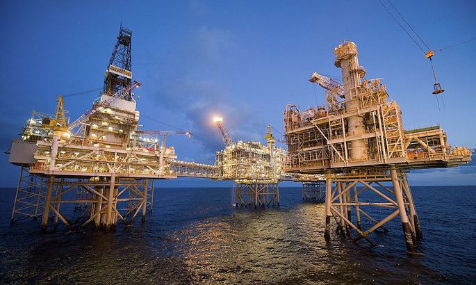 Handout photos of early evening photos of Nexen's Galaxy III offshore rigs with the newly installed fourth platform in the foreground in the North Sea