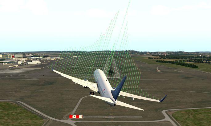 Simulation einer möglichen Luftturbulenz: Die Luftströmungen (grüne Linien) werden mit beweglichen Teilen der Tragflügel kompensiert.