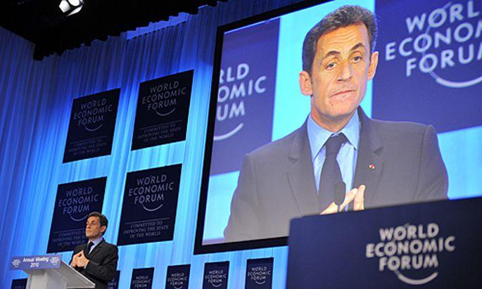 Nicolas Sarkozy beim 40. Weltwirtschaftsforums in Davos.