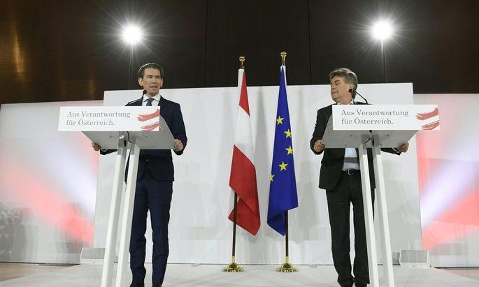 ÖVP-Obmann Sebastian Kurz und Grünen-Chef Werner Kogler