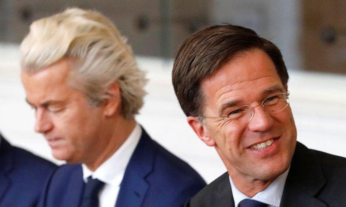 Premier Rutte (re) und Rechtspopulist Wilders