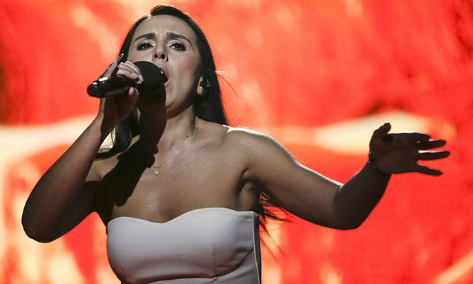 Crimean Tatar singer Jamala performs during Ukrainian national selection for Eurovision Song Contest outside Kiev