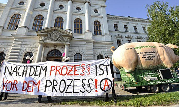 Protestaktion vor dem Gerichtsgebäude in Wiener Neustadt.