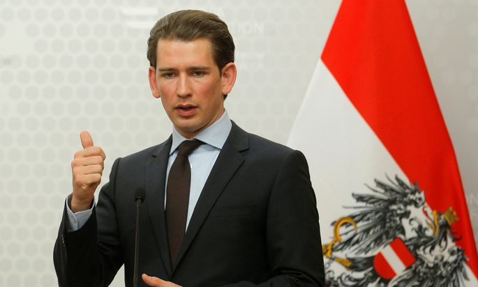 Austria´s Foreign Minister Kurz addresses a news conference in Vienna