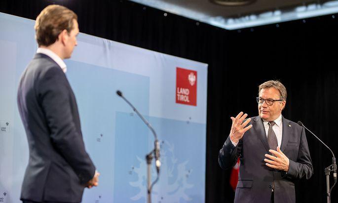 Sebastian Kurz (l.) und Günther Platter bei einem Tirol-Besuch des Bundeskanzlers im vergangenen Mai.