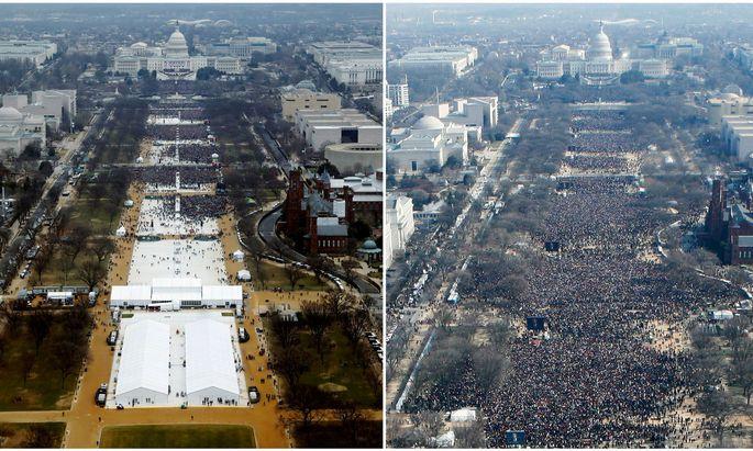 Wer hatte mehr Publikum bei seiner Inauguration als Präsident der USA? Donald Trump (l.) 2017 oder Barack Obama 2009?