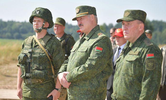 Belarusian President Lukashenko visits a military firing range near Grodno