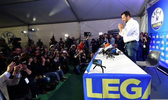 Italiens neuer starker Mann. Die EU-Wahl bestätigte die Position des Lega-Chefs und Vizekanzlers Matteo Salvini.