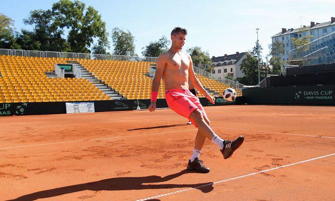 Österreichs Star Dominic Thiem spielt sich für den Daviscup gegen Australien in Graz warm.