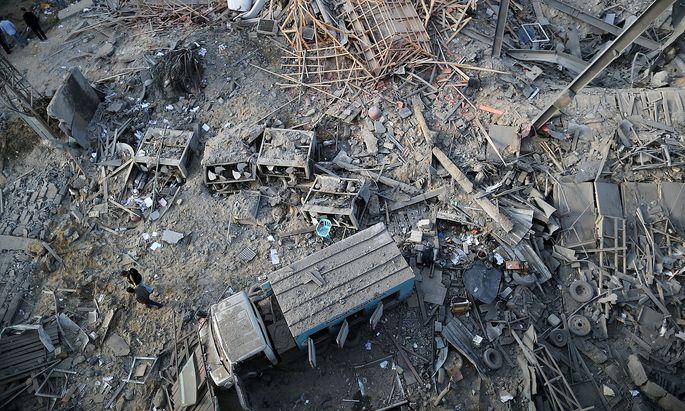 Hier stand vor wenigen Stunden noch die Fernsehsender-Zentrale der Hamas in Gaza-Stadt.