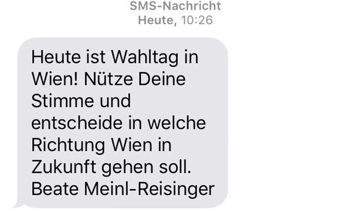 Im Wiener Wahlkampf 2015 verschickten die Neos diese SMS.