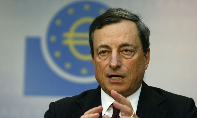 European Central Bank (ECB) President Mario Draghi speaks during the monthly ECB news conference in Frankfurt