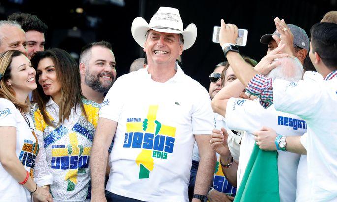Präsident Jair Bolsonaro buhlt bei einem Marsch in Sao Paulo um die Evangelikalen.