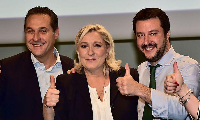FPÖ-Chef Strache, Front-National-Vorsitzende Marine Le Pen und Lega-Nord-Chef Matteo Salvini.