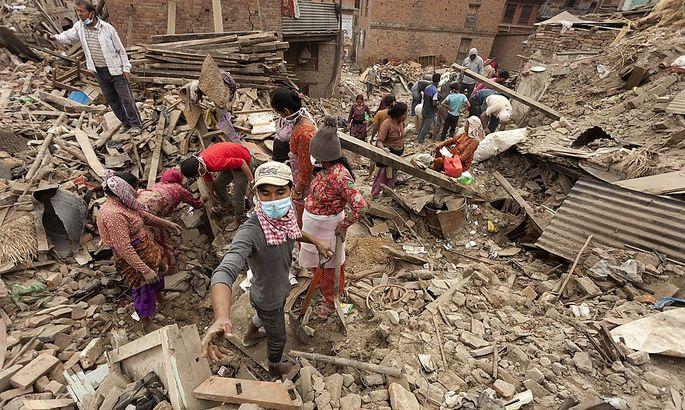 Aufräumarbeiten in Nepal
