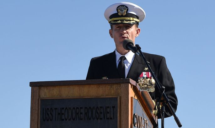 Captain Brett Crozier addresses the crew for the first time as commanding officer of the aircraft carrier USS Theodore Roosevelt
