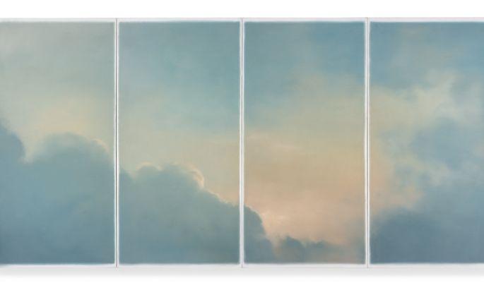 """""""Wolken (Fenster)"""" von Gerhard Richter ist eines der Toplose der Abendauktion von Sotheby's in London. Es ist auf neun bis zwölf Millionen Pfund geschätzt. Zuletzt war es 2014 bei einer Auktion von Christie's und erzielte damals 6,2 Millionen Pfund."""
